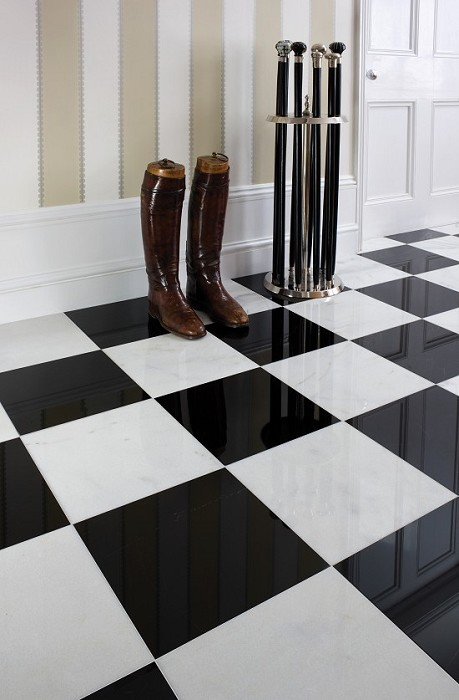 Marble floor tiles black and white for Black and white tile floors