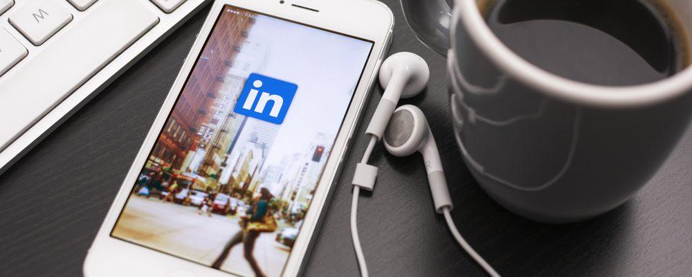 LinkedIn open on iPhone