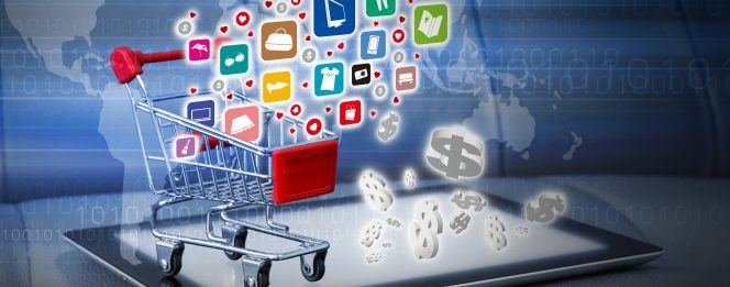 eCommerce Shopping Cart On Laptop, Showing Buying Online