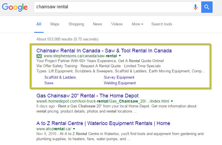 Screenshot of a Google AdWords chainsaw rental ad from Stephenson's Rental in Ontario