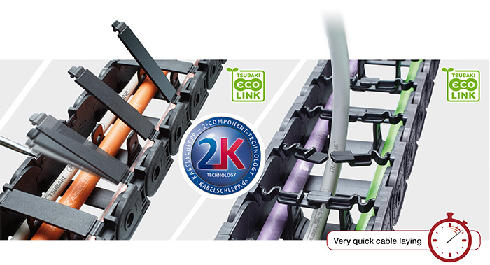 EcoLink cable carriers with very quick cable laying from Tsubaki-Kabelschlepp Canada.
