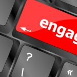 Engage button on computer pc keyboard key represents Engagement Program at business