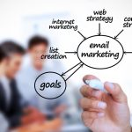 Email marketing: Email Is Not Dead- Businessman writing e-marketing terms in front of a business team