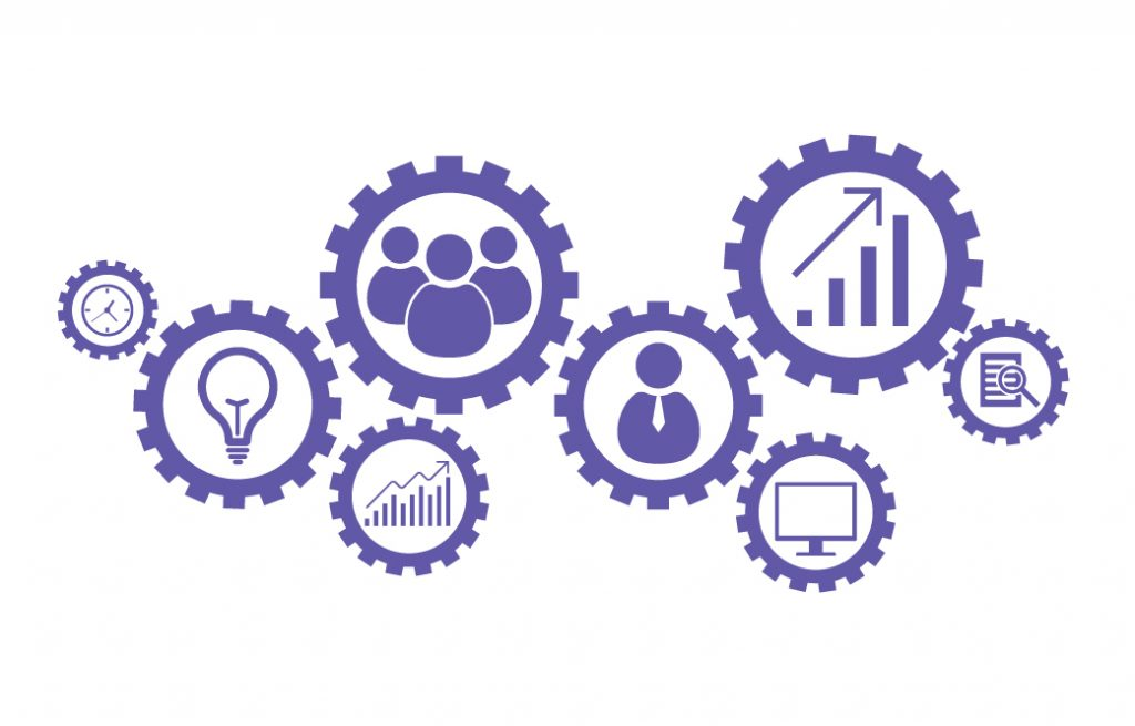 Business mechanism concept. Abstract background with connected gears and icons for strategy, research, concepts.